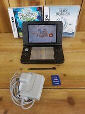 Nintendo 3DS XL Black Console Bundle *Screens VGC* 2 Games Stylus Pen Charger