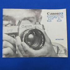 Original Canon Ft Instruction Manual - Very Good with Free Shipping