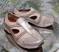 EASY SPIRIT BEIGE LEATHER LOAFERS SLINGBACK CASUAL COMFORT SHOES WOMENS SZ 9.5 M