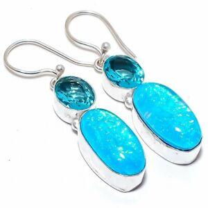 """Blue Triplet Fire Opal, Blue Topaz 925 Sterling Silver Jewelry Earring 1.9"""""""
