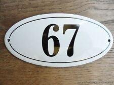 Estilo Antiguo Esmalte puerta número 67 Número de Casa Puerta Cartel Placa