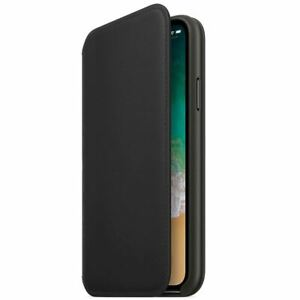 For iPhone XR Leather Case Genuine Folio Flip Wallet Black Case Stand Cover