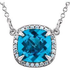 "SWISS BLUE TOPAZ and DIAMOND HALO NECKLACE 1.86 TCW 14K White Gold Pendant 16"""