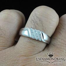 MEN'S NEW 10K WHITE GOLD GENUINE REAL DIAMOND WEDDING ANNIVERSARY RING BAND SZ10
