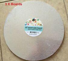 """10"""" Round Silver Foil Cake board (3 Boards)"""