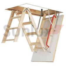 OptiStep Ole Wooden 3-section Folding Loft Ladder 60cm X 111cm Stile Ends