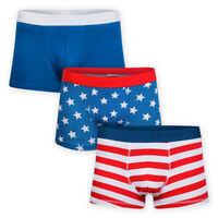 Men 3 Pack Form Fitting Short Trunks Jersey Cotton 3 Designs Boxer Shorts Briefs