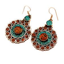 Turquoise Coral Earring Tibetan Nepalese Handmade Tibet Nepal ER1070
