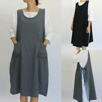 Women Casual Cotton Linen Tunic Apron With Pockets Japanese Style Pinafore Dress