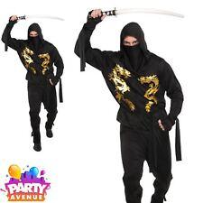 Adult Ninja Costume Mens Halloween Assassin Samurai Fancy Dress Outfit Plus Size