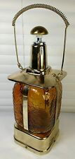 Vintage MUSICAL DECANTER LANTERN Amber Glass JAPAN Mid-Century Music Box Liquor