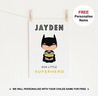 Personalised Superhero Print Cartoon Theme Poster Kids Batman Room Wall Art