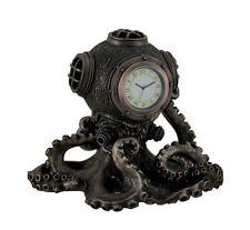 "Steampunk Octopus Diving Bell Clock Statue - 6.5"" Cold Cast Bronze"