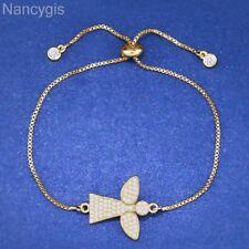 Guardian Angel Gold Plated Crystal CZ Elegant Gift Adjustable Charm Bracelet