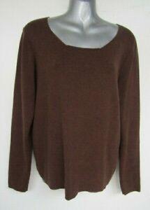 PERUVIAN CONNECTION Brown Peru 100% Pima Cotton Knit Pullover Jumper L 14 16