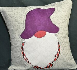 Gnome Quilted 12 x 12 Purple and Red Throw Pillow