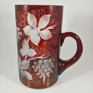EGERMANN Ruby Red Cut to Clear Czech Glass Mug -16oz Large - Etched Grape Leaves