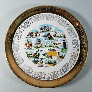 "South Dakota Plate Tourist Gold Color Edged 7"" Diameter"