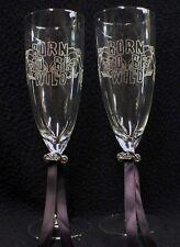 COOL Bride & Groom Wedding Toasting glasses w/ Harley Davidson Motorcycle Charm