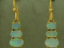 CE722 Genuine 9ct Yellow Gold Natural Solid Opal Journey Drop Earrings