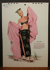 J. Frederick Smith July 1947 Calendar Page Blond at Beach In Black Sarong