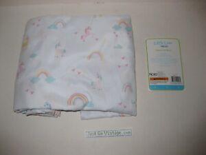 NoJo Rainbows & Unicorns Fitted Crib Sheet Little Love Pink/White Aqua Yellow