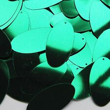 """Green Metallic Shiny Sequins Oval 1.5"""" Large Couture Paillettes"""