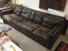 "Unique 8ft 6"" handmade leather sofa, with four soft seat and back cushions"