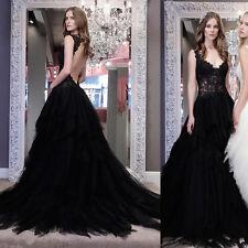 Country A Line Wedding Dresses V Neck Black Gothic Bridal Gown Spring Summer Hot
