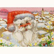 Künstler-AK Weihnachten / Verschneite Stadt mit Weihnachtsmann