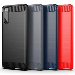 For Sony Xperia 10 III Case, Silicone Shockproof Carbon Fibre Gel Phone Cover