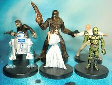 Star Wars Miniatures Lot  R2-D2 C-3PO Han Solo Chewbacca !!  s97