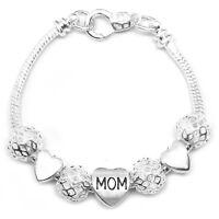 Valentine's Day 925 Sterling Silver Mom & Hearts Snake Chain Bracelet +GiftPkg