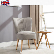 UK Modern Oyster Bedroom Dining Chair Home Retro Comfy Furniture Grey Fabric