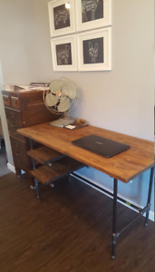 Industrial desk Desk with shelves Home Office Desk Pipe and wood desk Large comp