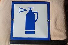 VINTAGE ENAMEL PORCELAIN SIGN Point with a fire Extinguisher