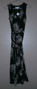 Casual Corner Long Maxi Sleeveless Dress Black Beige Floral Side Sash Ties sz 2