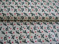 Fabric Christmas by yard Green Toss holly calico tiny red hearts vintage OOP