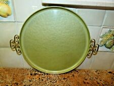 Vintage Kyes Moire Glaze Sage Green Round Serving Tray Hand Made w Handles