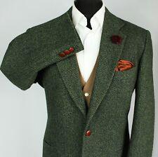 Tweed Blazer Chaqueta Verde 42R escocés Tweed sastrería italiana 2802