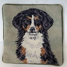Australian Shepherd Dog Puppy Needlepoint Pillowcase 10� Velveteen Back w/Zipper