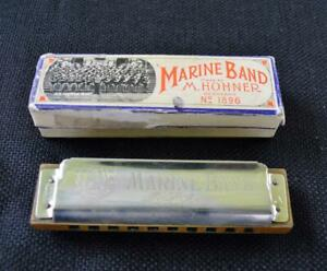 M.Hohner Marine Band No. 1896 Key of A Harmonica w/original case Made Germany
