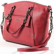 Coach Prairie Chain Satchel Handbag Cherry Leather Purse Crossbody Shoulder Bag