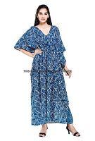Indien Grande Taille Ethnique Boho Maxi Indiao Bleu Floral Printkaftan Robe Long