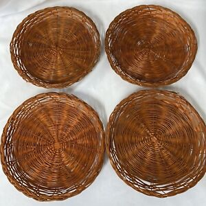 Set of 4 Wicker Rattan Bamboo Colored Paper Plate Holders Boho Wall Baskets