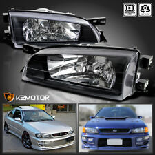 For 1995-2001 Subaru Impreza JDM Crystal Black Clear Headlights Head Lamps Pair