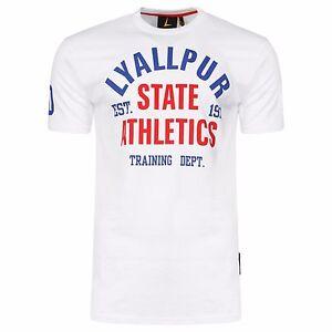 New 100% Cotton Lyallpur Text Printed White Men's T Shirt