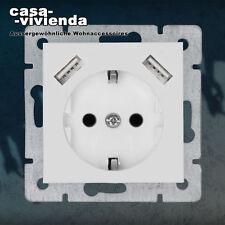Kombi-Steckdose für PEHA® Aura - 2 x USB 2.0, Kinderschutz, 55x55 mm - Reinweiß