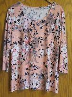 Croft & Barrow women's Large dress shirt pinks navy etc. floral stretchy fabric