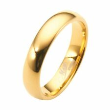 4mm Gold Plated Polished Tungsten Carbide Wedding Ring Classic Half Dome Band